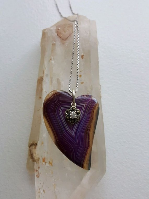 Purple linear agate heart with yellow-orange coloration, floral crystal, marcasite heart charm, sterling box chain