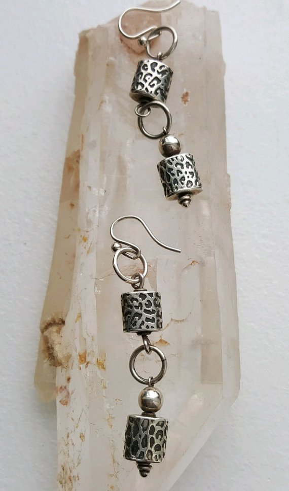 Sterling silver carved leopard design beads, sterling loops on French ear wires