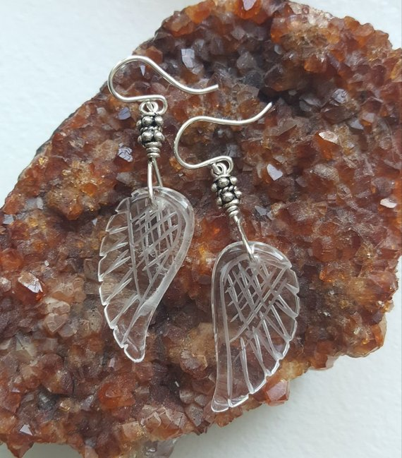 Wonderful clear Quartz carved angel wings on sterling wire and beads, French ear wires