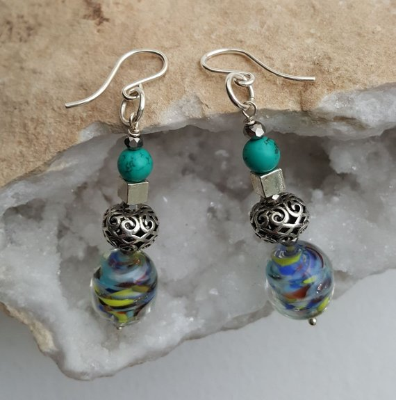Multicolored glass beads, sterling filigree beads, sterling cubes, turquoise beads on sterling French ear wires