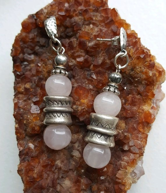 Beautiful carved Rose Quartz beads, Thai silver beads, sterling beads and hammered posts
