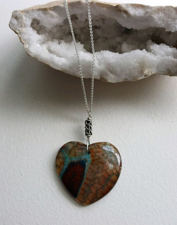 Fascinating translucent multi colored dragon vein Agate heart, sterling decorative tube and rolo chain