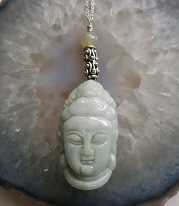Beautiful light green Jadeite carved Buddha head, on sterling wire, decorative tube, sterling chain