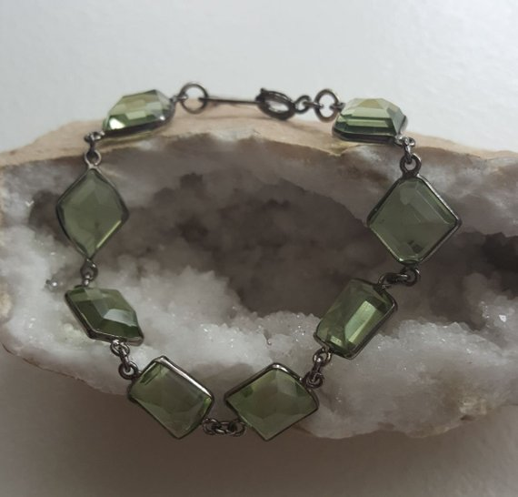 Green faceted Amethyst, multi-shaped stones, dark oxidized sterling frames and links, square sterling link and clasp