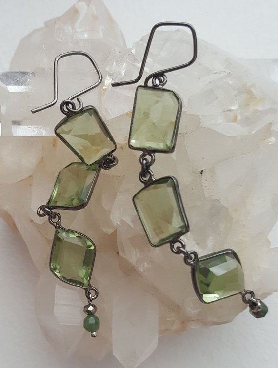 Triple green faceted Amethyst stones, on dark sterling oxidized frames and links, drop green agate bead and silver crystal