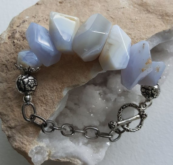 Large Blue Lace Agate chunks, carved sterling beads, large sterling oxidized chain and toggle