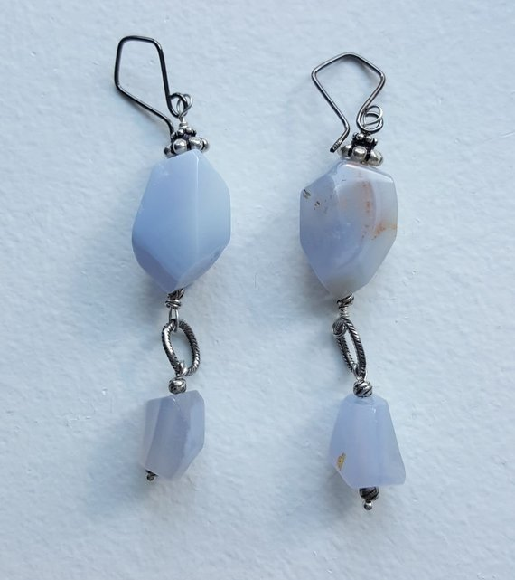Beautiful, long, blue Lace Agate dangling chunks, oxidized sterling links, sterling beads and dark sterling ear wires