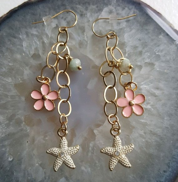 Beautiful gold filled chain with pink enamel flowers and white star fish charms, agate bead charm, on gold filled ear wires