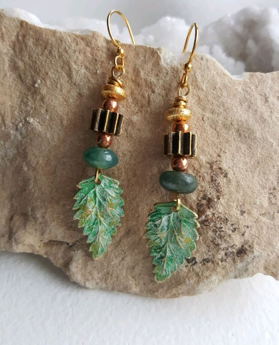 Brass verdigris leaf drops, green agates, copper beads, bronze vertical beads on brass ear wires