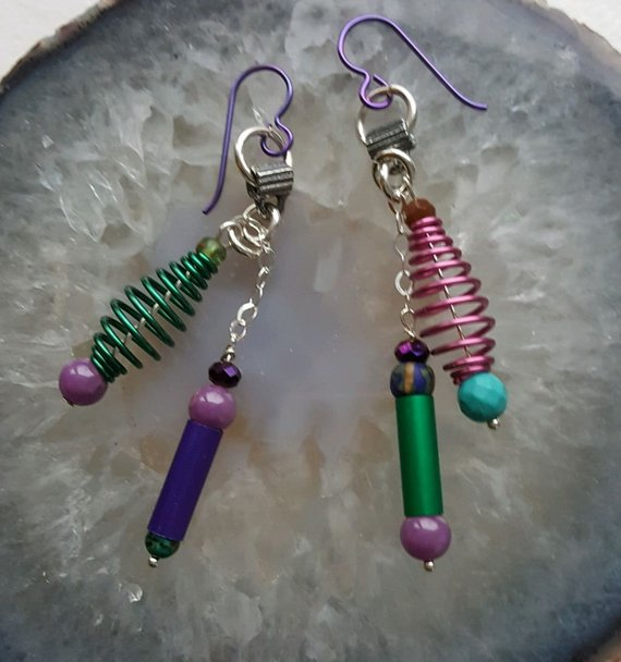 Green, pink aluminum swirls, pink Phophosiderite beads, tubes on sterling chain, turquoise bead, on purple aluminum ear wires