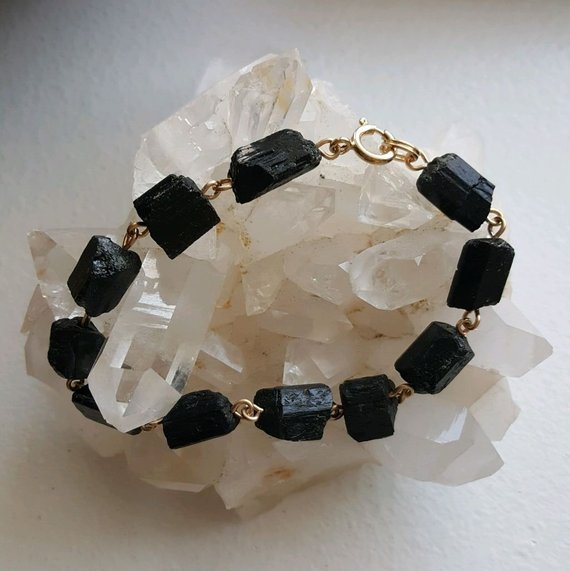 Rough black tourmaline chunks, gold filled wire, gold filled clasp, 7.5 ""