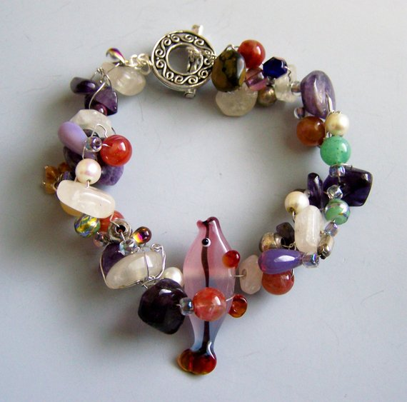 Amethyst, glass, big fish, agates, wire wrapped, sterling toggle bracelet