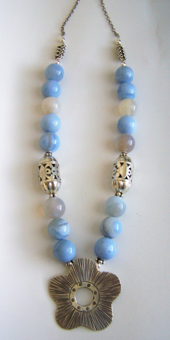 Light blue round agates, Thai silver open flower, sterling filigree tube beads and clasp