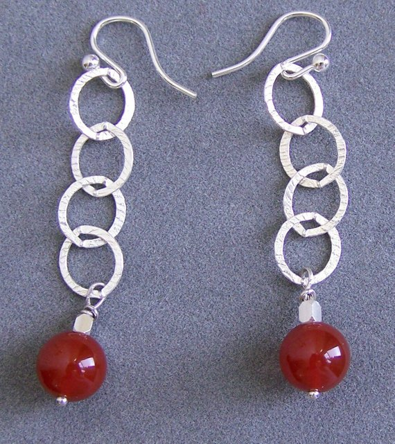 Sterling open round links, carnelian drop, sterling wires
