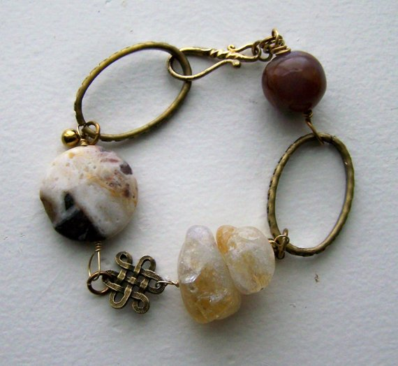 Large chunks of Citrine and Agate with large brass links