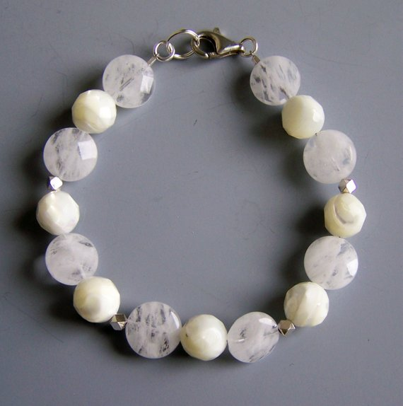 White crystal and white agate beads, sterling beads and lobster clasp