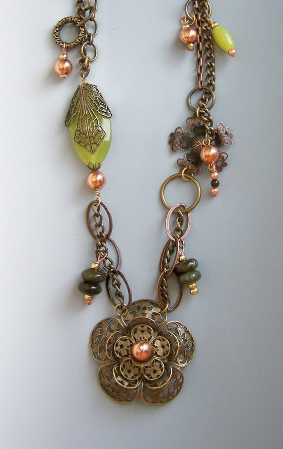Intricately attached brass link chain with huge metal filigree flower, copper beads, semi-precious stones