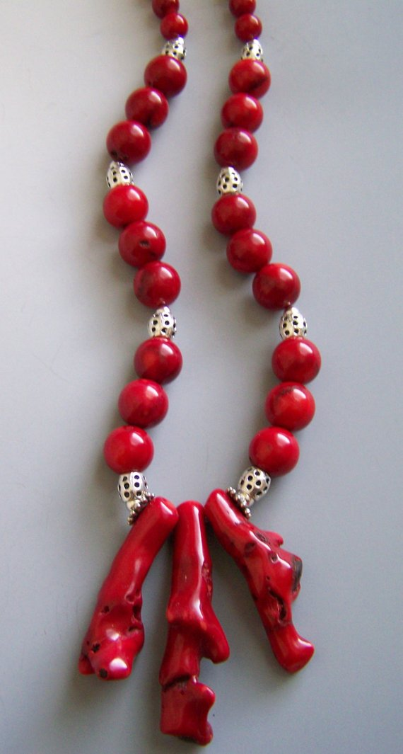 Bright Red Coral branches dangling with coral and sterling beads, sterling chain and clasp