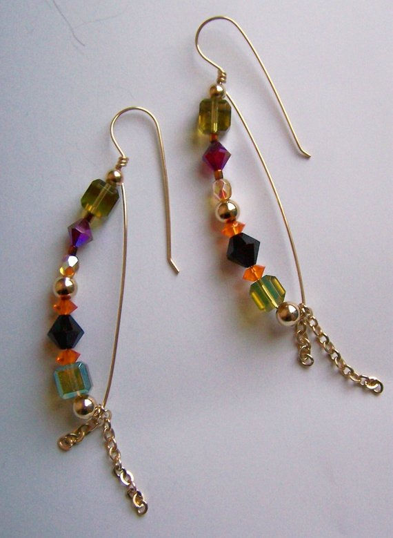 Multi-colored crystal beads on gold filled wire and chain