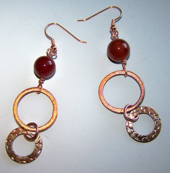 Carnelian beads with copper hammered disks on copper ear wires