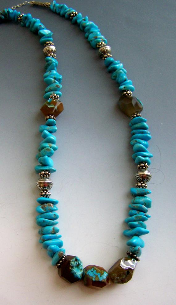 Blue Turquoise large chips, agates with turquoise, sterling beads and chain