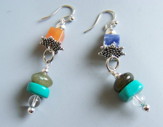 Top and bottom semi-precious stones, turquoise, labradorite, orange and blue stones, clear crystals on sterling wires