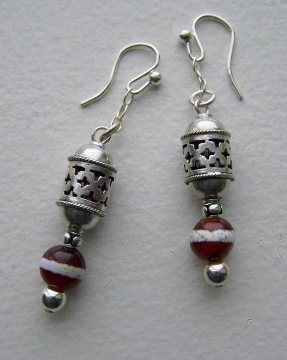 Sterling carved, open cut beads, carnelian beads with stripe, on small sterling chain, French wires