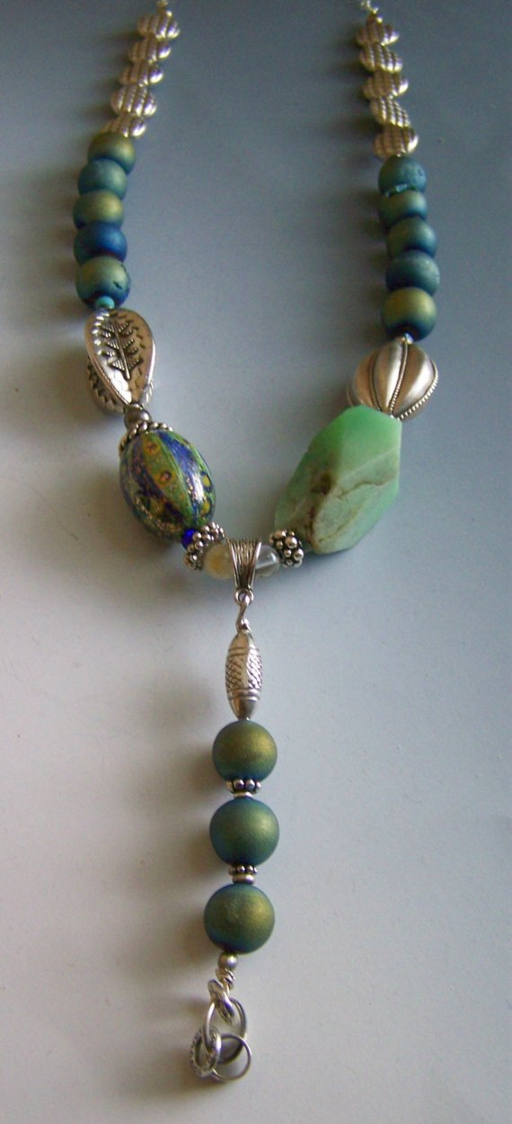 Blue glass fired beads, Chrysoprase with hand-blown glass bead, sterling large and small beads and lobster on chain