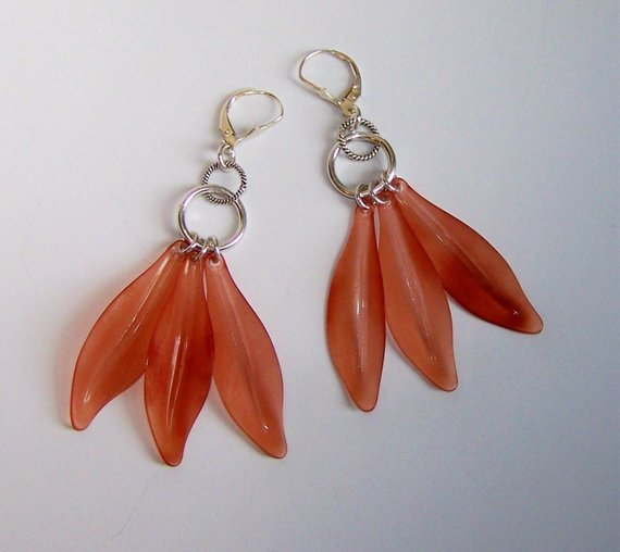 OrangeRose colored vintage acryllic leaves, sterling disks and French earwires