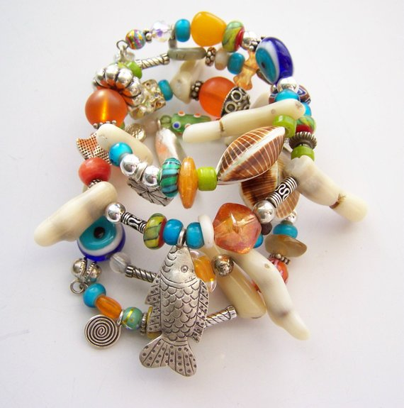 Exciting white coral, Thai silver, glass, agates, Snake bracelet with charms on memory wire, over 3 revolutions long
