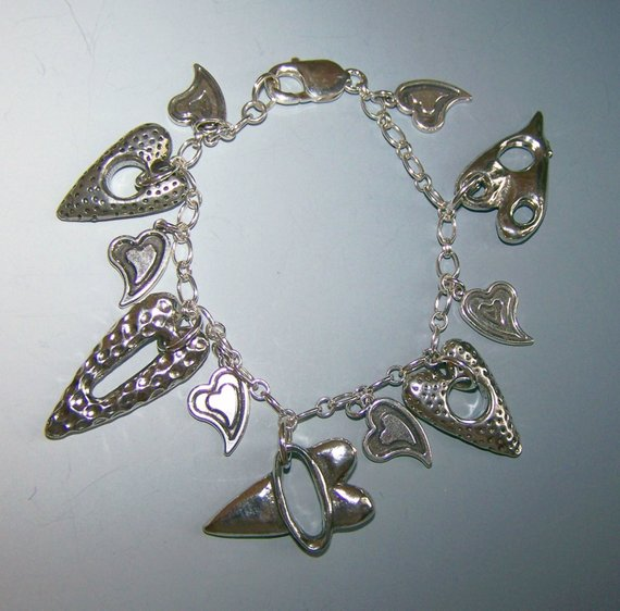 Hand made open pewter silver hearts, sterling hearts on open sterling chain. Large sterling lobster clasp