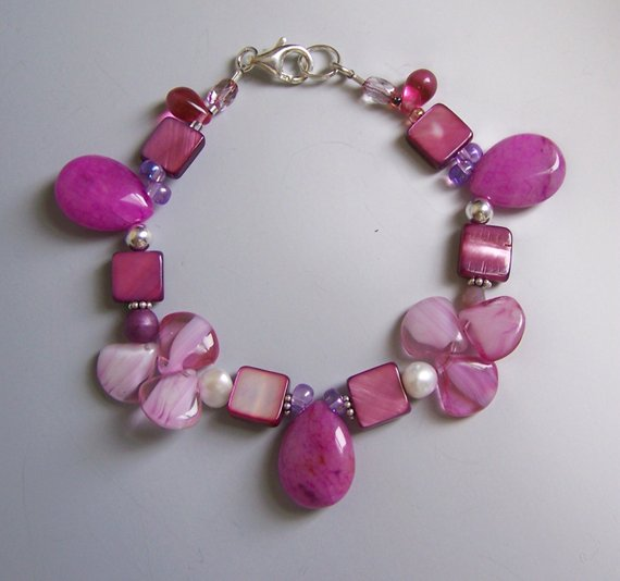 Beautiful in Pink! Glass and shells, agates and pearls, with matching earrings in shop