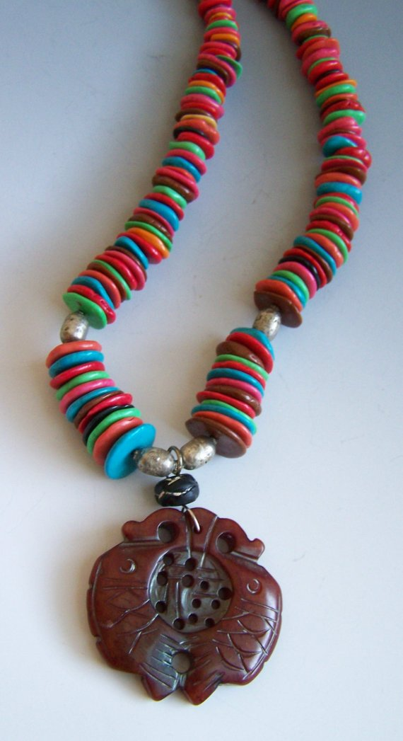 Multi stone disk shapes, olde silver beads, brown carved pendant