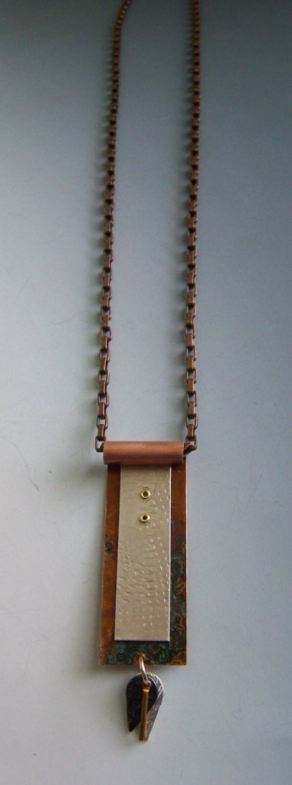 Sterling rectangle on copper treated multi-colored pendant, copper rivets, long rectangular copper chain, and dangles