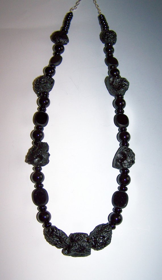 All Black, irregular shaped beads, mostly onyx, to wear day or night
