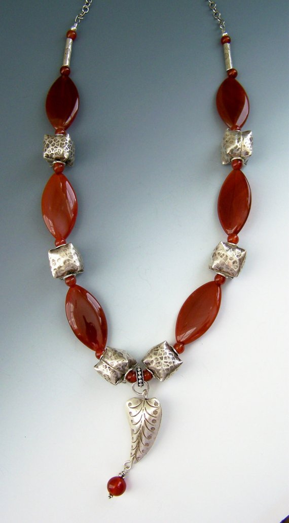 Beautiful large, oval carnelian beads, Thai silver pillow beads with beaded dangle, sterling chain/lobster