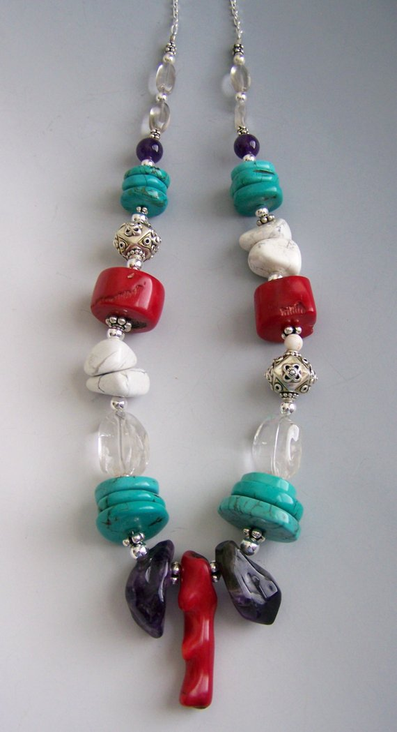 Statement piece, chunky stones of coral center, Amethyst, Turquoise, Crystal Quartz, Manganese