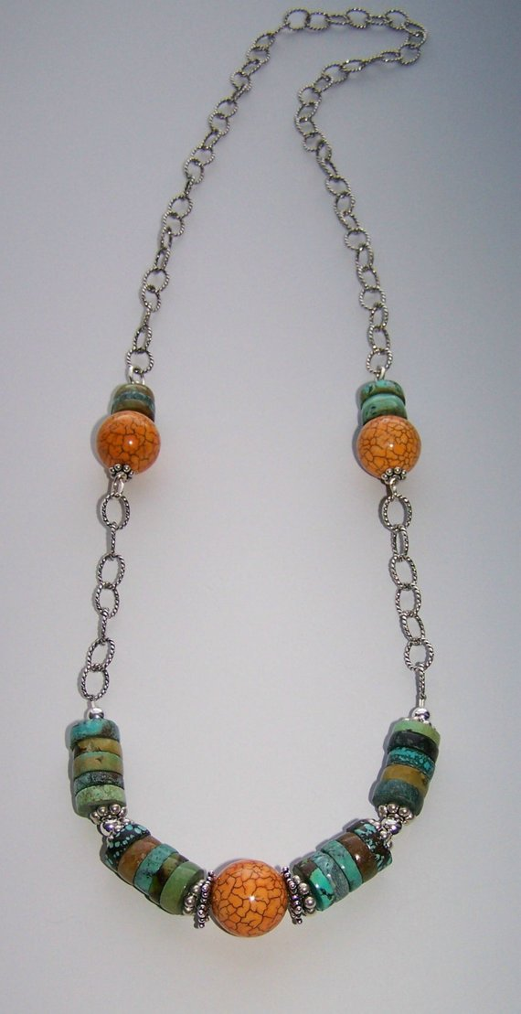Long oxidized sterling chain, Turquoise rondelle beads, sterling beads, center orange Manganese bead
