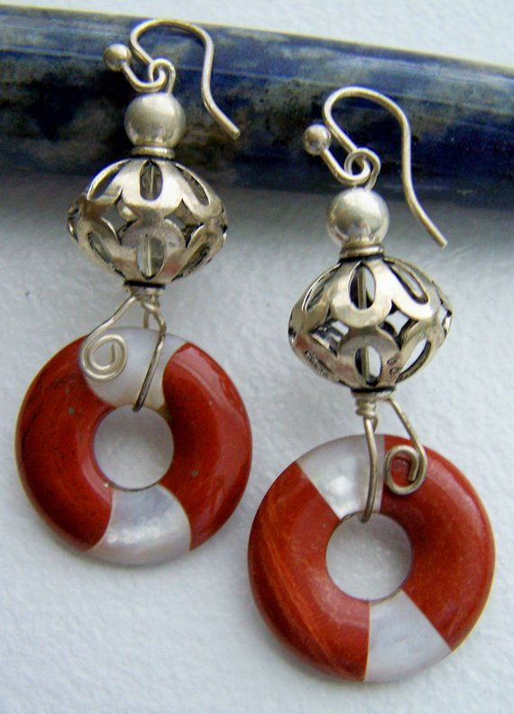 Substantial open sterling carved beads, wire connected with open Mother of Pearl-jasper disk dangles