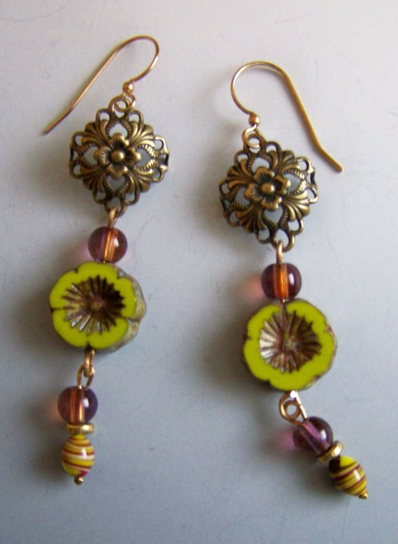 Vintage carved green bead, brass filigree top, purple glass dangles with ceramic bead
