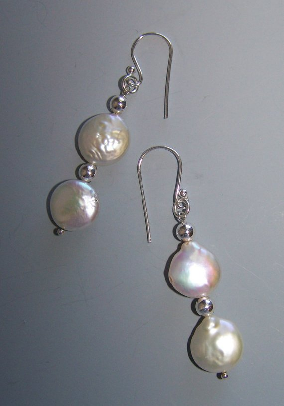 White fresh water coin pearls, sterling beads on sterling ear wires