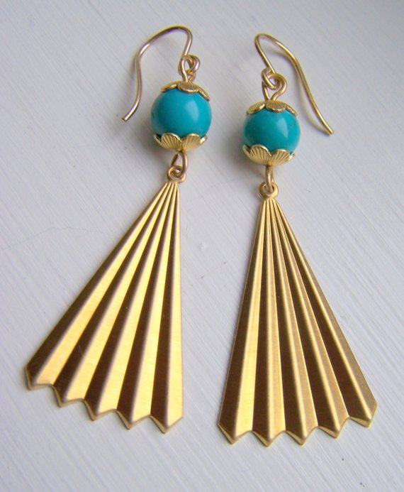 Bright brass with Turquoise bead, vintage bead caps and beautiful fan dangle. Gold filled ear wires