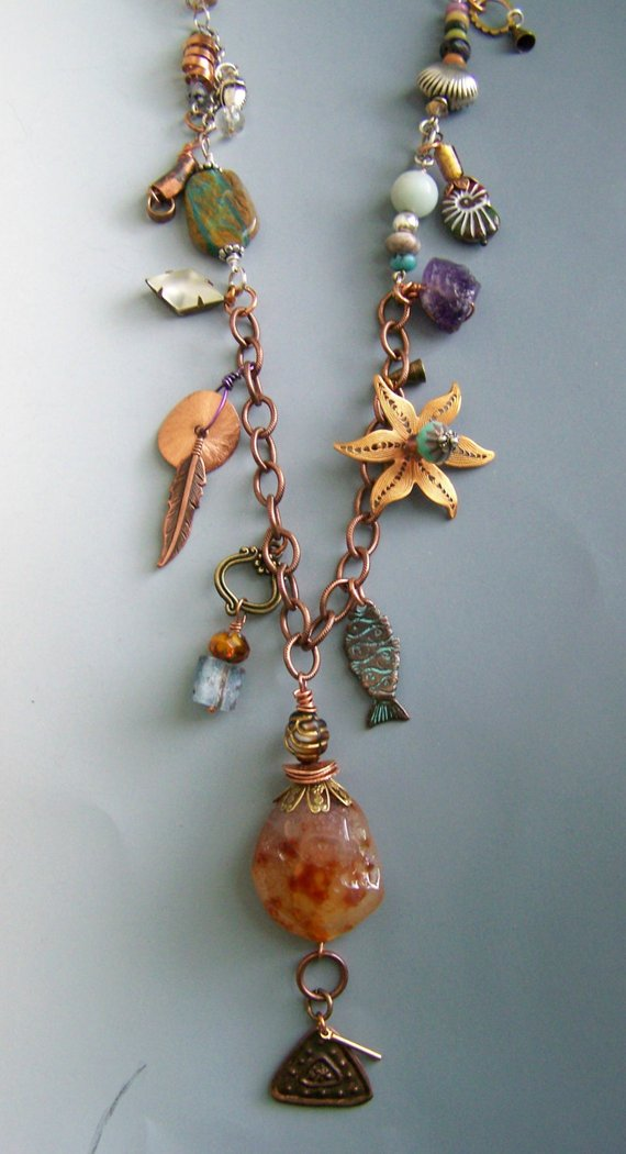 Very long, fun, copper chain with multi-charms, natural stones, copper, vintage glass, sterling beads, brass wire with large agate drop