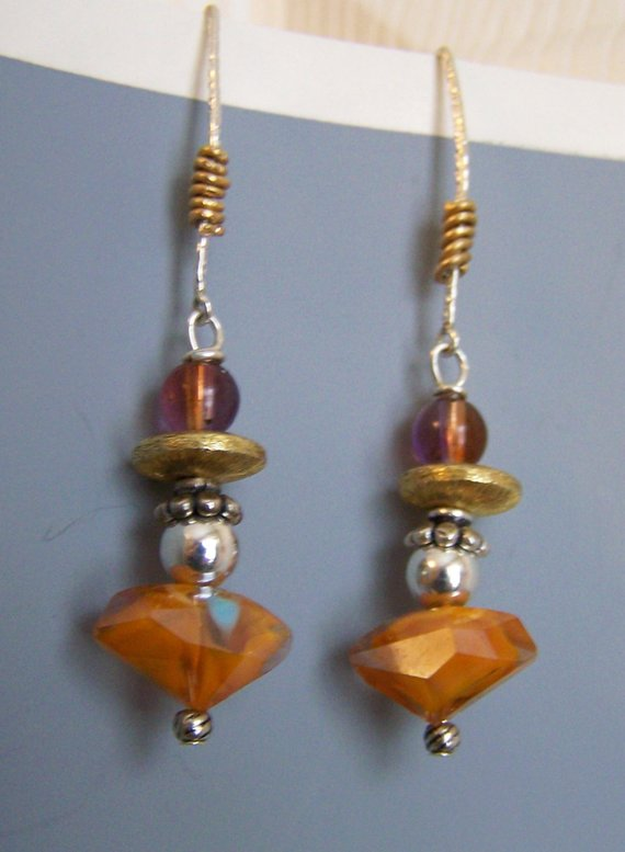 Colorful orange cut glass bead, sterling beads, gold filled over sterling rondelle, purple glass bead on sterling large loops