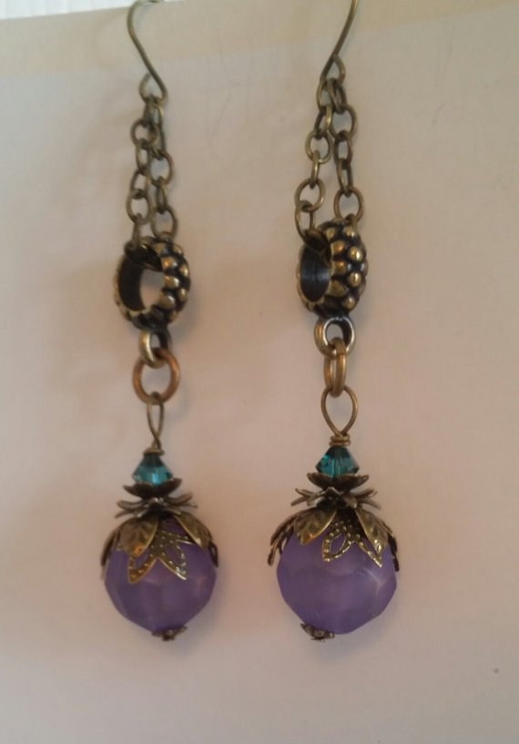 Lovely lavender vintage bead with vintage brass findings, on long brass chain