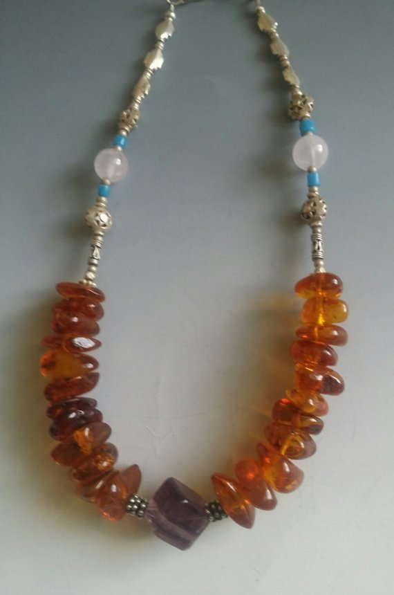 Center cube Fluorite, amber beads, sterling beads, short