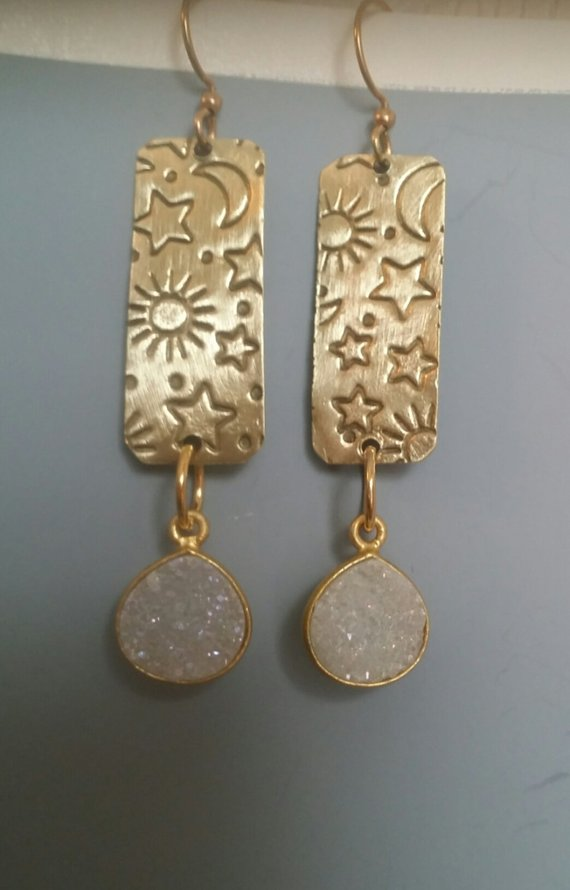 Brass Moon, Sun and Stars – Brass rectangles, white drusy drops, brass ear wires