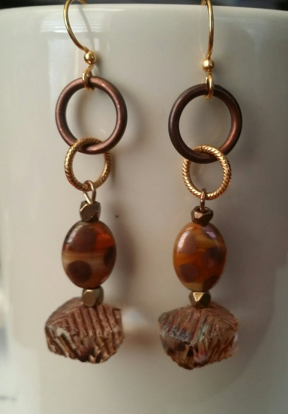 Great tan, brass, copper glass Czech beads, vintage beads and circles on brass ear wires