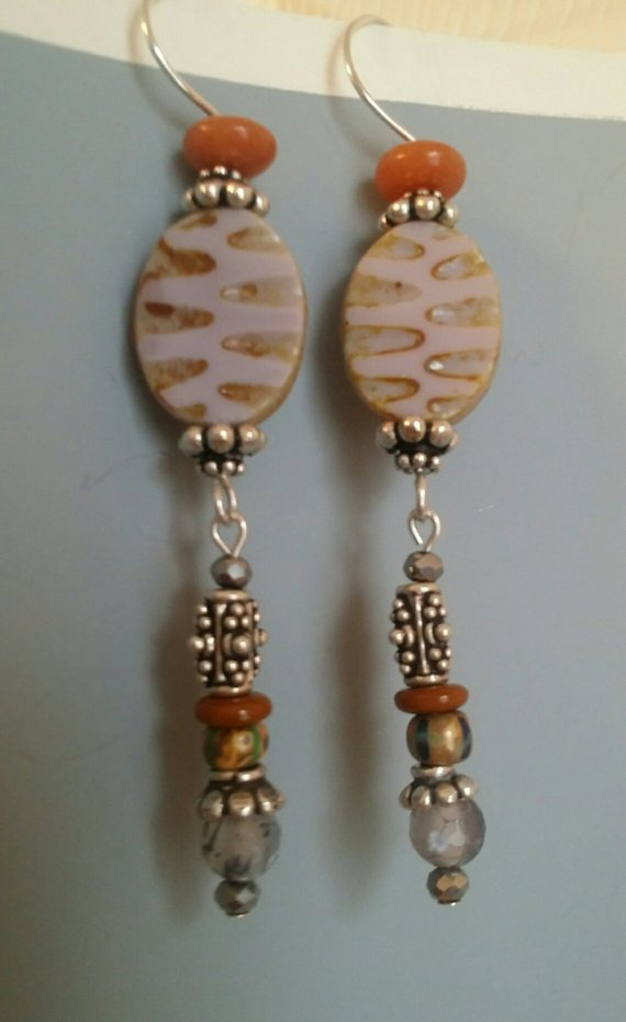 Long earrings on sterling wire, taupe czech glass beads, sterling beads, orange agates, trade beads