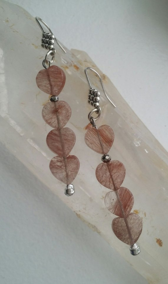 Long, rutilated pink-orange quartz hearts, on carved sterling ear wires, crystal beads